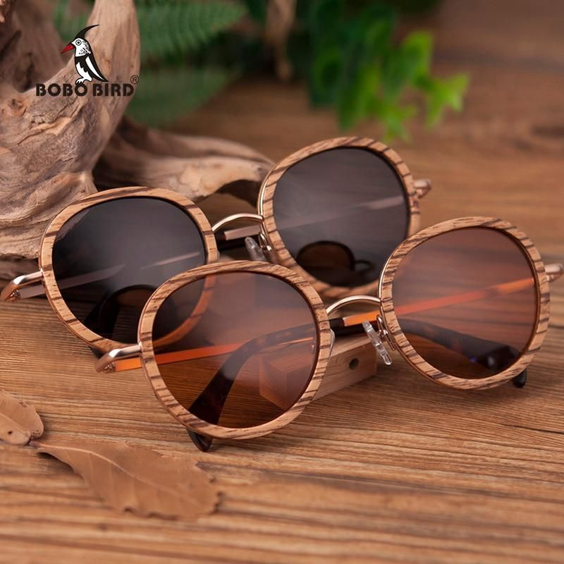 59ec786c62 BOBO BIRD Zebra Wood Round Elegant Bamboo Sunglasses with Polarized Lenses  in Wood box  bamboo  sunglasses  travel  UV400  fun  bambooshades  stylish   retro ...