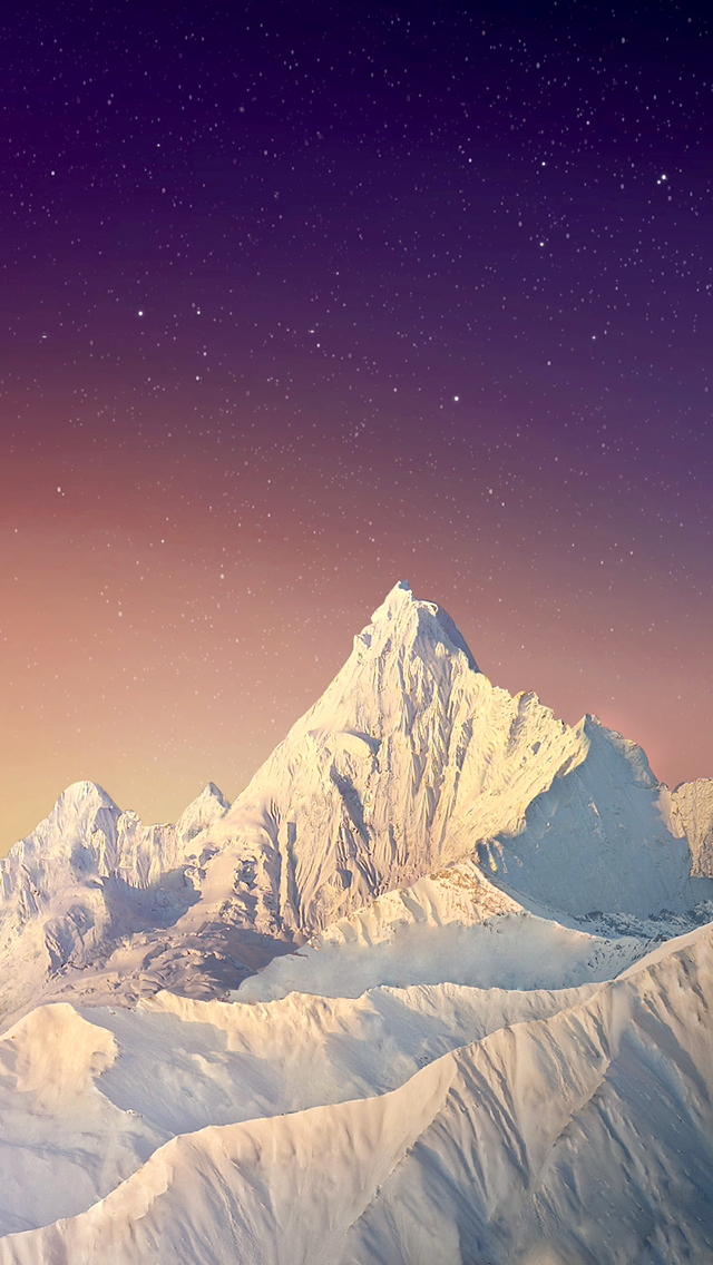 Snow Mountain Peak Stars Sky 2018 iOS 11 iPhone X