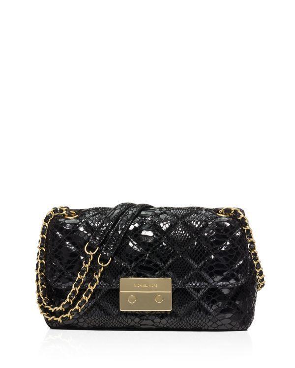78934074a04fb Michael Michael Kors Large Sloan Quilted Patent Embossed Python Shoulder Bag