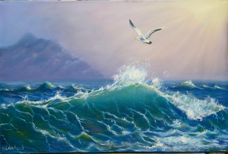 Seashore Painting Sea Wave Painting Seagull Over The Sea Art Seascape Ocean Waves Seagulls Painting Seashore Paintings Ocean Painting Abstract Ocean Painting