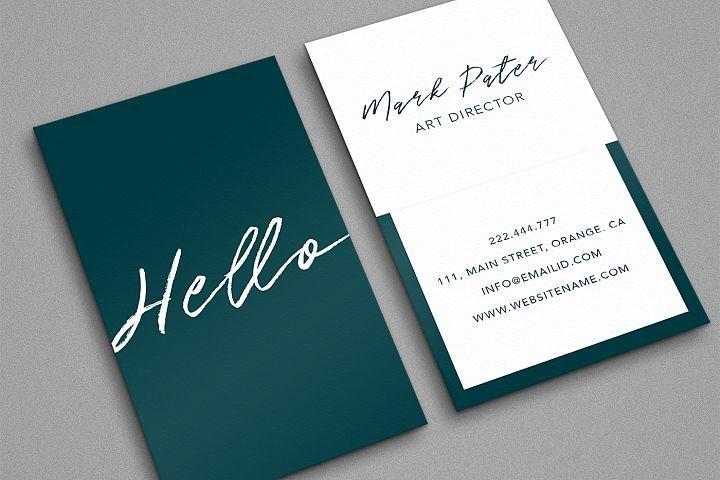 Professional hello script business card