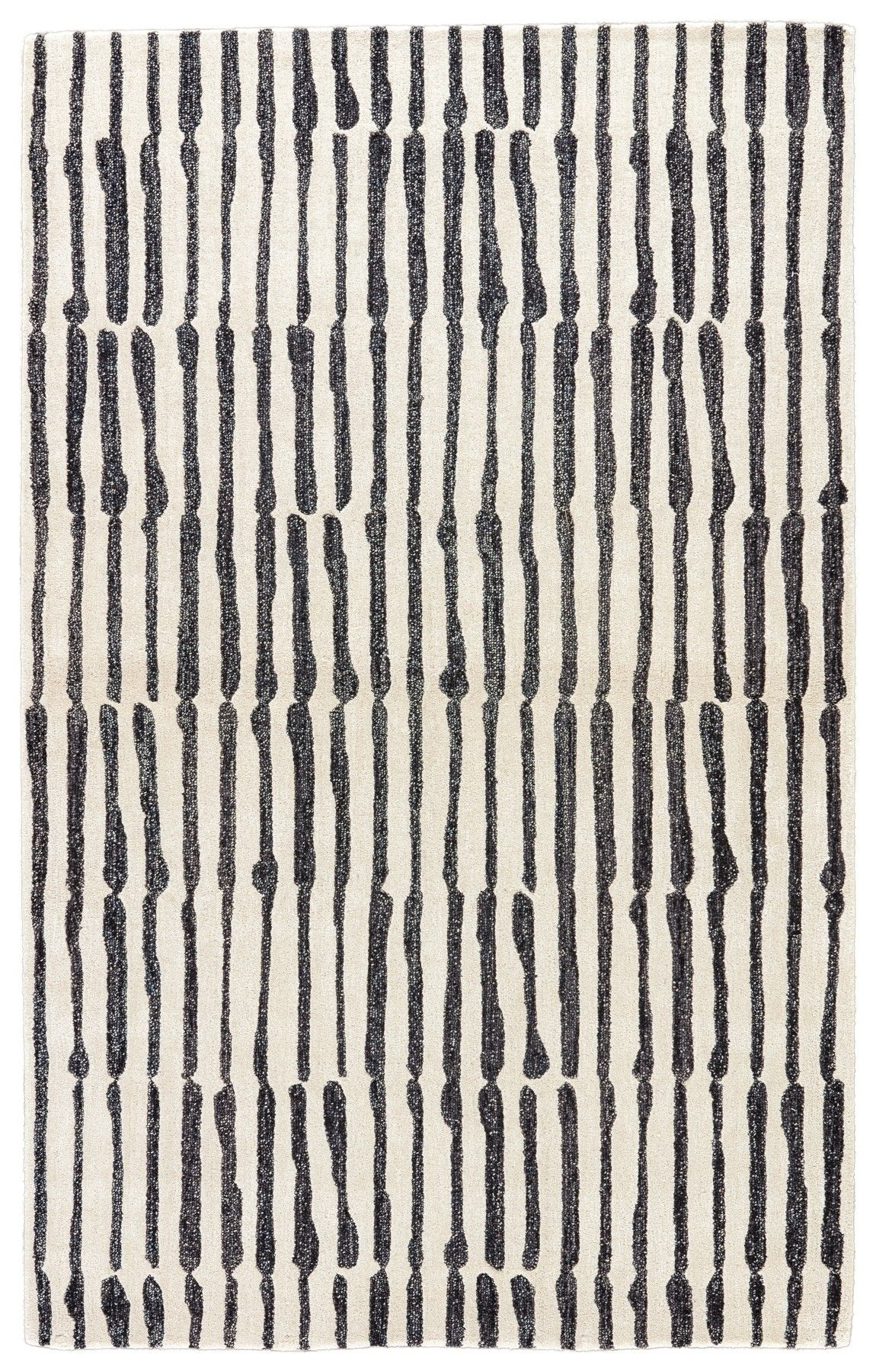 Black And White Stripes In Hand Drawn Lines Make This Rug