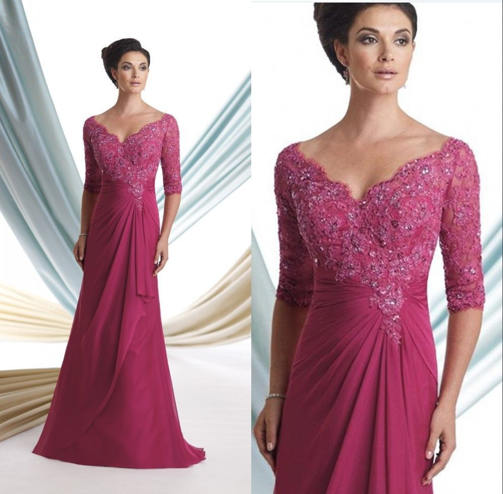 evening wedding guest dresses fuschia v neck of the dresses formal evening 3947