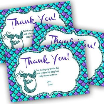 Mermaid Thank You Card Mermaid Baby Shower Thank You Tags Baby