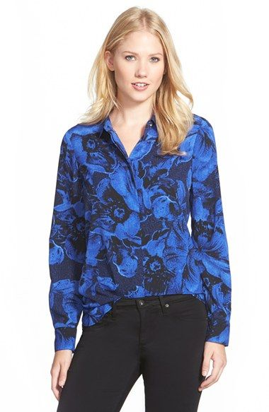 Ellen Tracy Print Crepe Boyfriend Shirt available at #Nordstrom