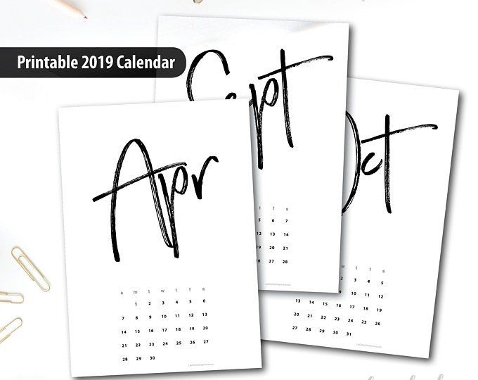 2019 Printable Calendar A4 - Instant Download - 12 Month New year