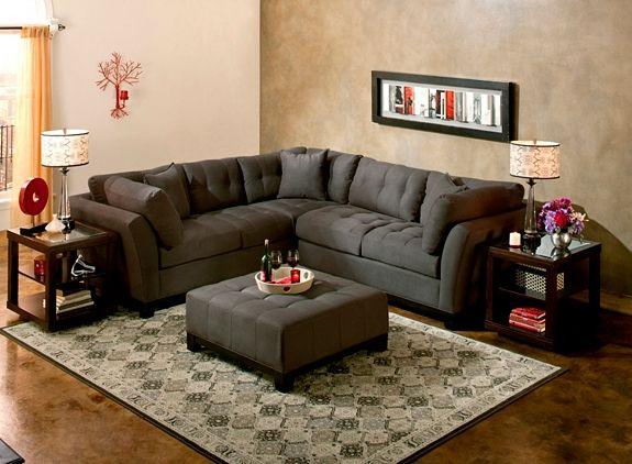 Cindy Crawford Home Metropolis 2 Pc Microfiber Sectional Sofa In