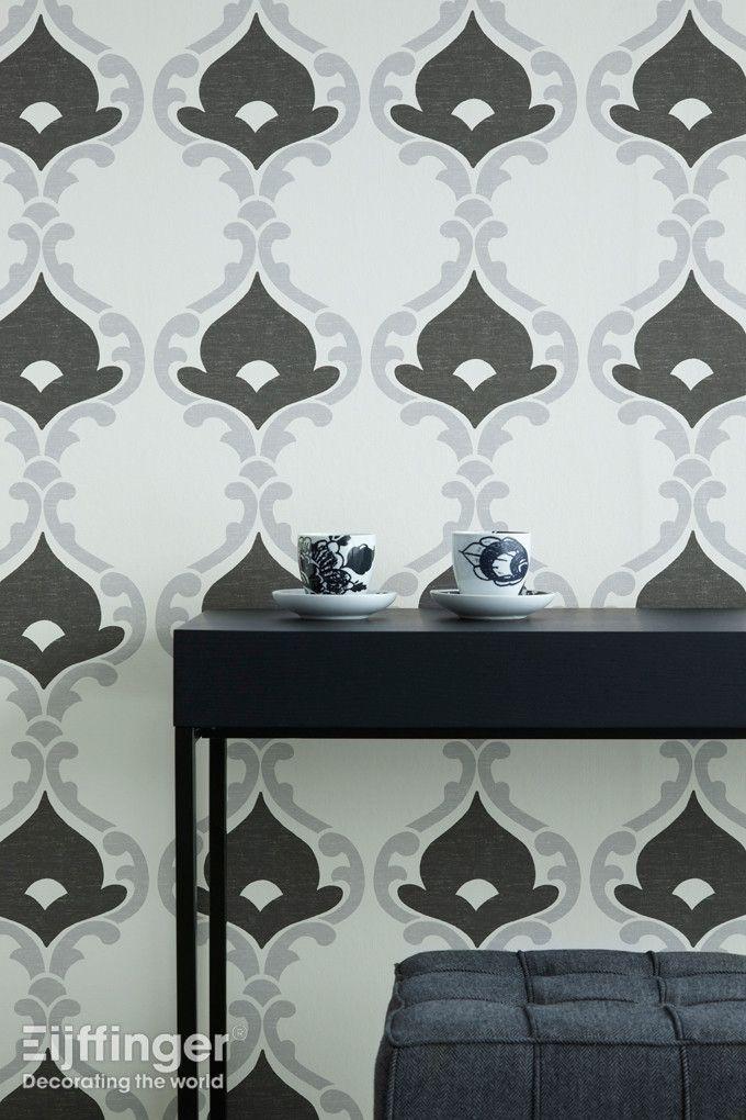 Eijffinger behang Grand Gala - zwart, grijs, wit - 310324. #interieur #modern #behang #patroon
