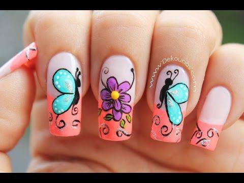 Decoracion de u as mariposas y flores facil butterfly and flower nail art youtube u as - Decoracion facil de unas ...