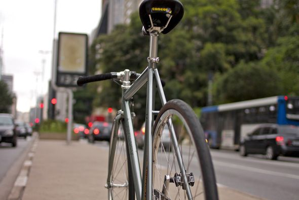 Grey And Old Fixed Gear With Bullhorn Handlebar Fixie Fixed