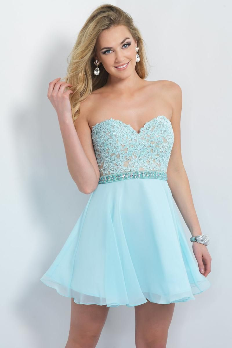 Sleek strapless sweetheart lace bodice aline blue tule short prom