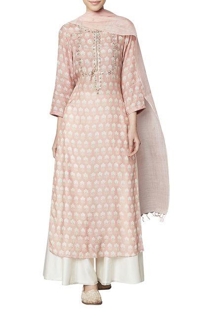 Ihram Kids For Sale Dubai: Blush Modal Silk Kurta, Sharara & Dupatta