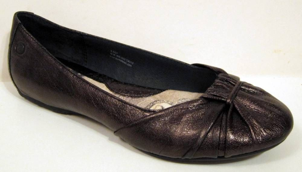 BORN 'Adele' Bronze Leather Ballet Flat Size 37/US 6.5 W61933 #Born