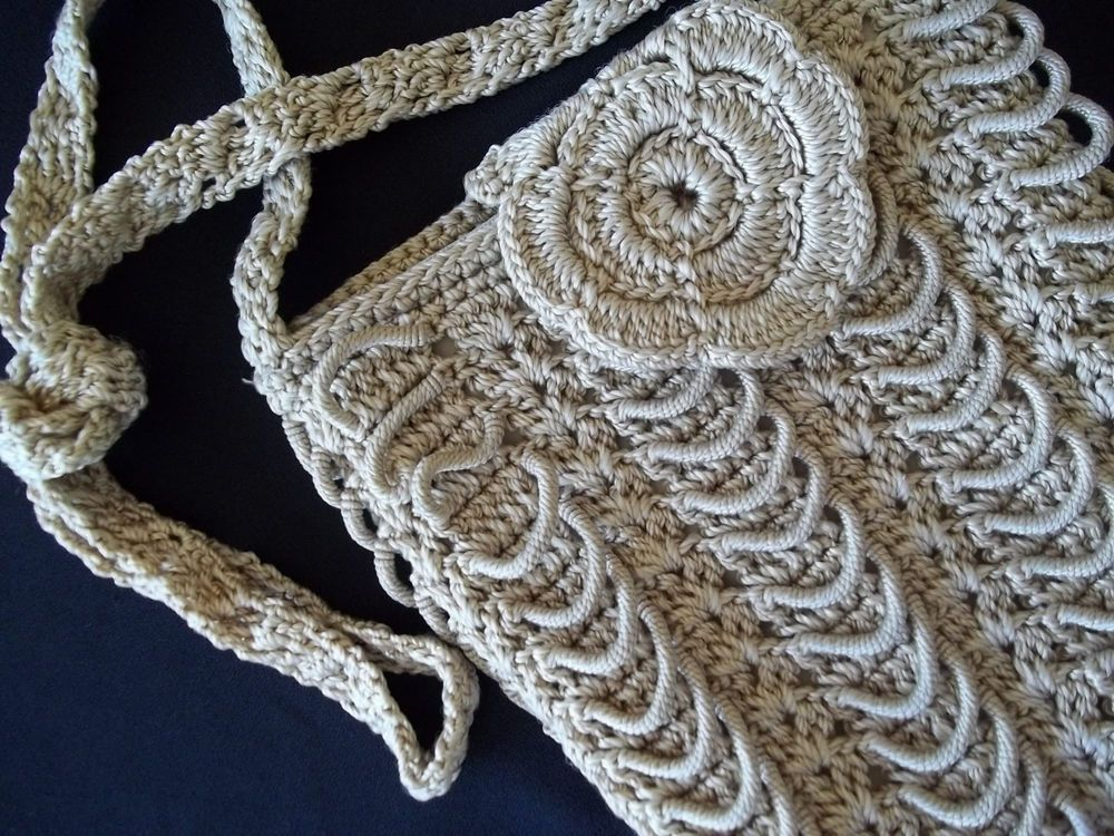 Vintage 1930's 40's Hand Crochet Loopy Hand bag Purse Ecru Tan Color #Drawstring