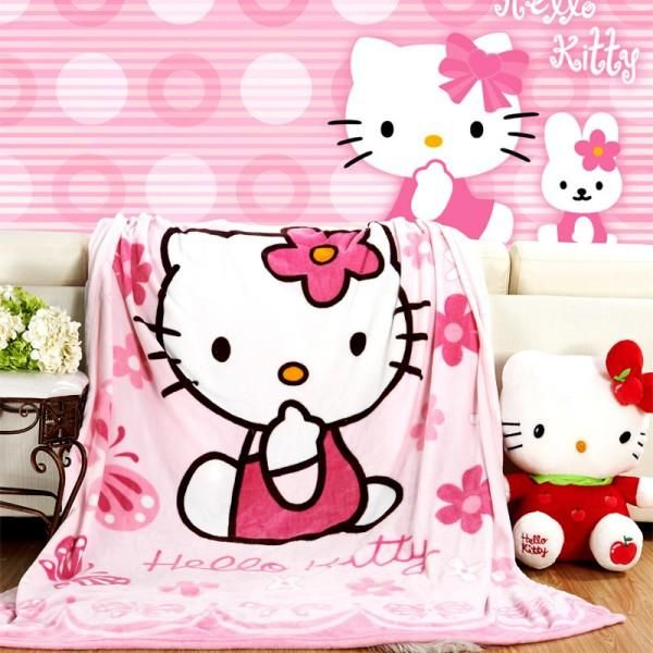 FSKY Throw Blanket Hello Kitty Blankets Cartoon Printing Cover Flannel Super Soft Plush Beach Sherpa for Adults Boys Girls Kids Toddler Baby Children Pink