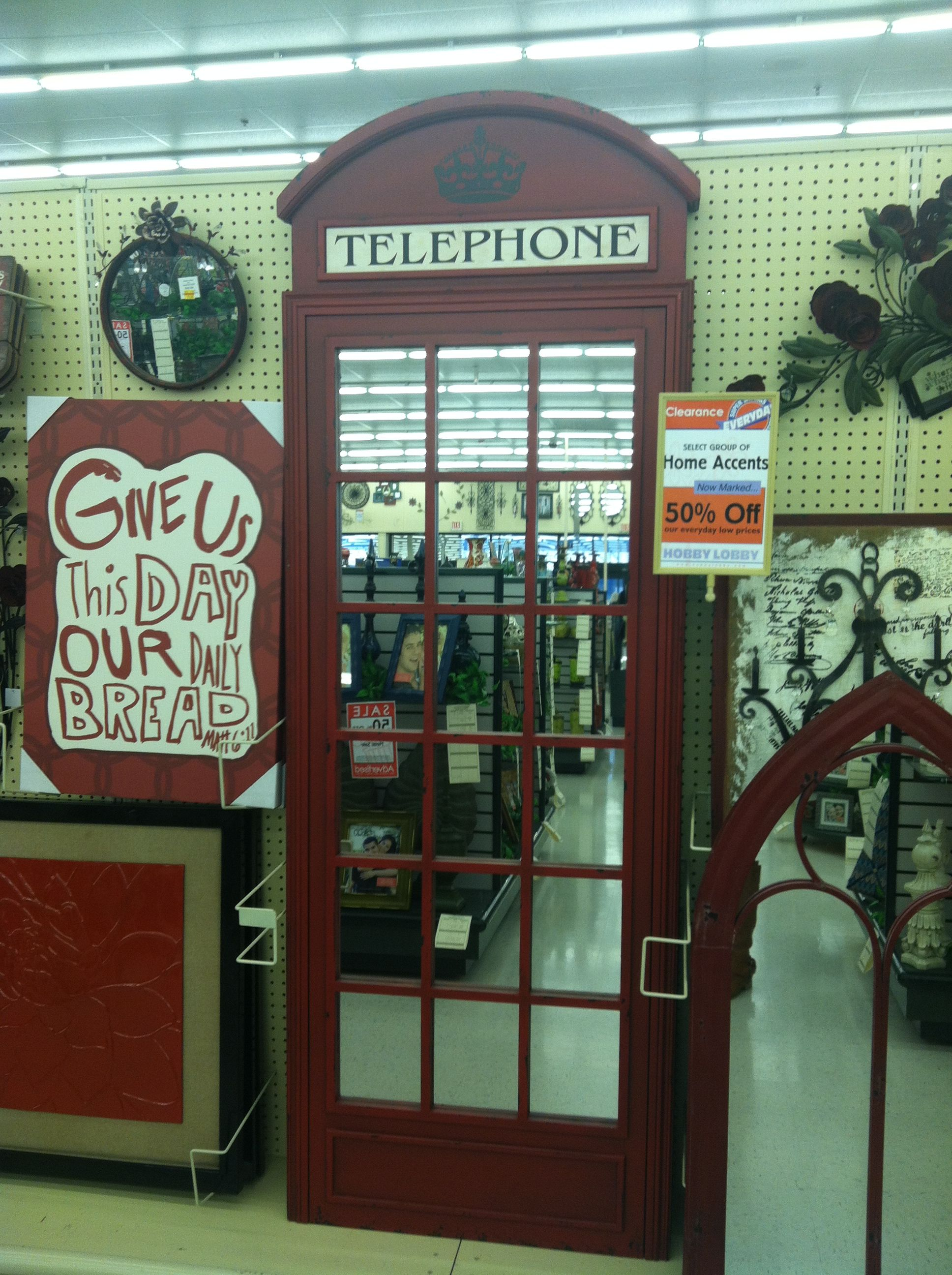 London Telephone Booth Mirror At Hobby Lobby These Will