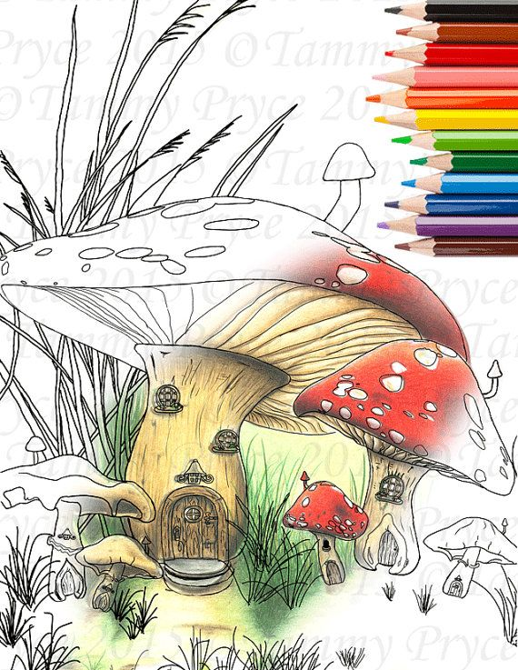 Fantasy Mushroom House Adult Coloring Page Digi By TammyPryce 200