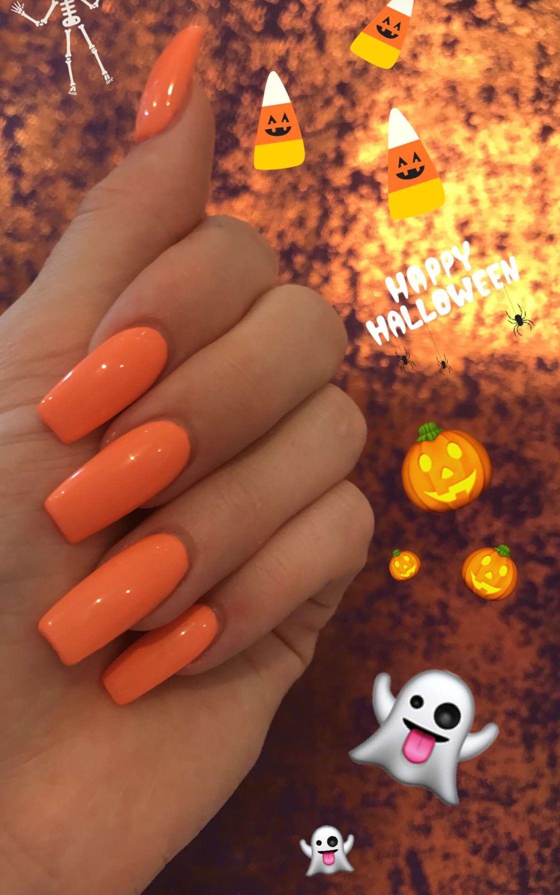 Orange acrylic nails   nails   Pinterest   Orange acrylic nails ...
