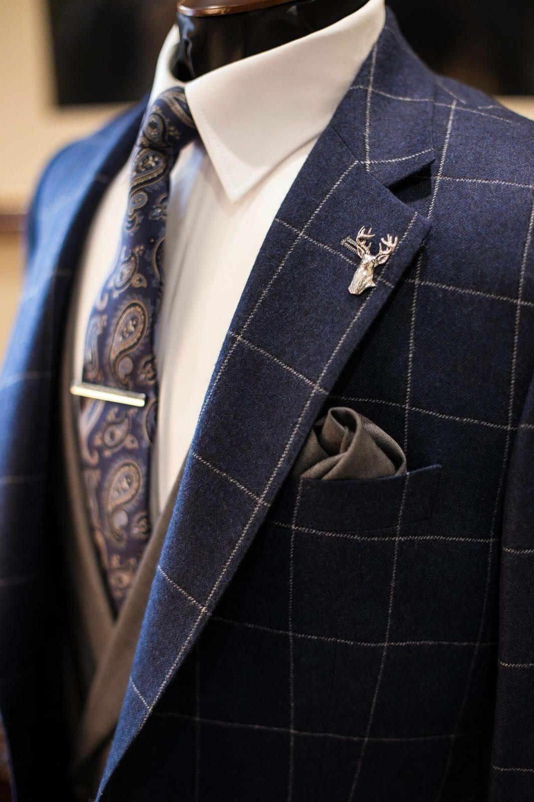 Navy Window Pane Jacket Grey Double Breasted Waistcoat Groom