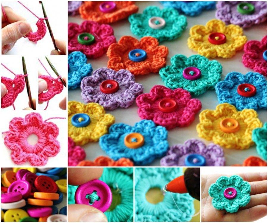 Crochet Button Flowers Video Free Pattern Lots Of Ideas | Flower ...