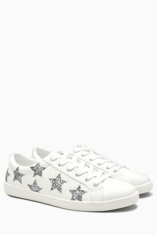 White/Silver Glitter Star Lace-Up