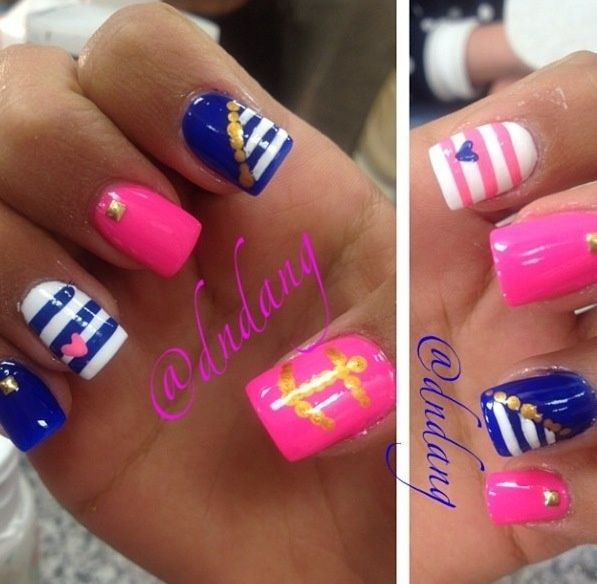 Pink and blue sailor nail design polish me pretty pinterest pink and blue sailor nail design prinsesfo Image collections