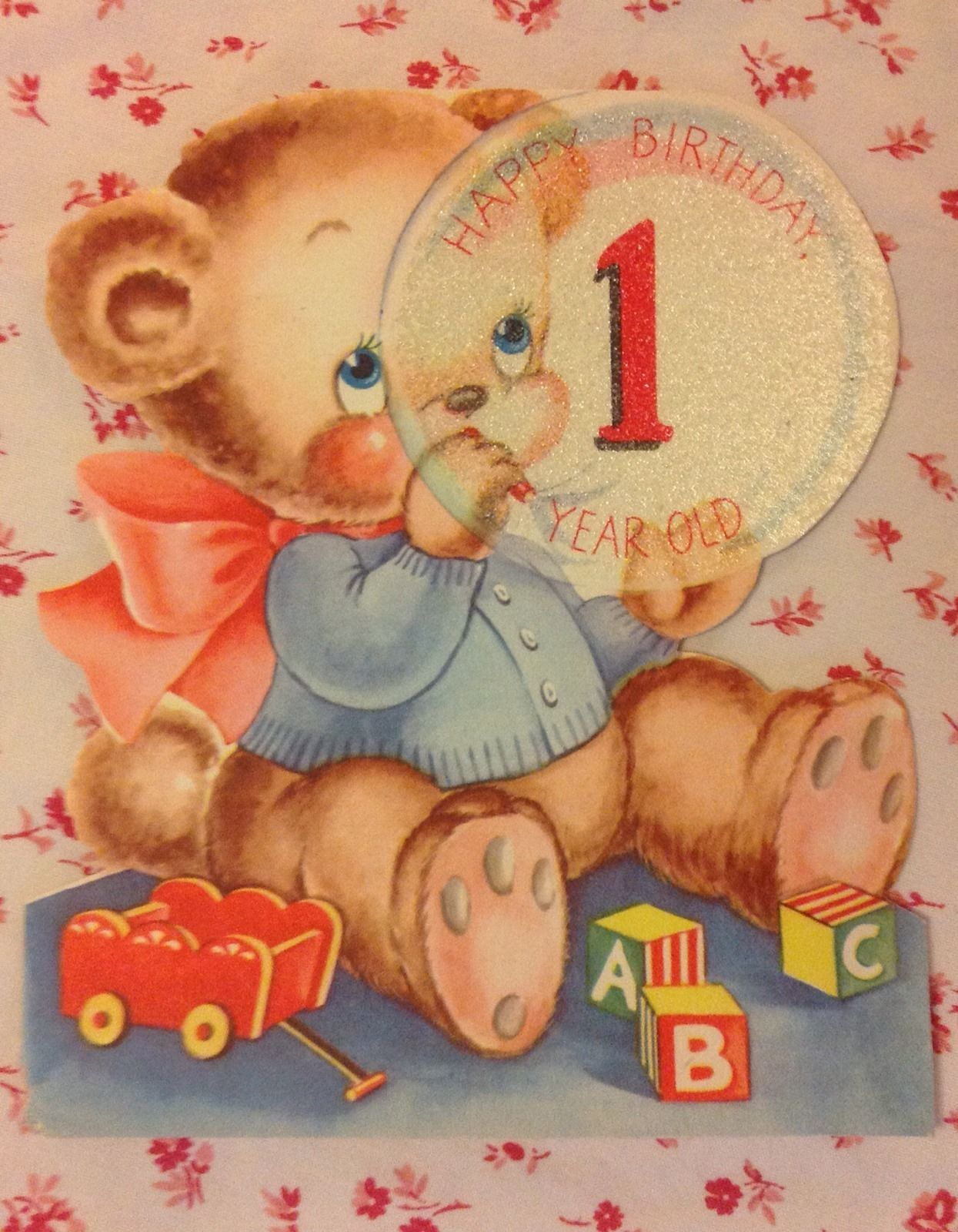 Vintage 1940s Birthday Card For 1 Year Old W Teddy Bear Blowing Bubbles