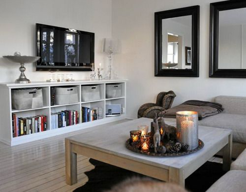 GET THE LOOK IKEA EXPEDIT 2x4 Bookcase In White BRANS Basket Living Room IdeasLiving