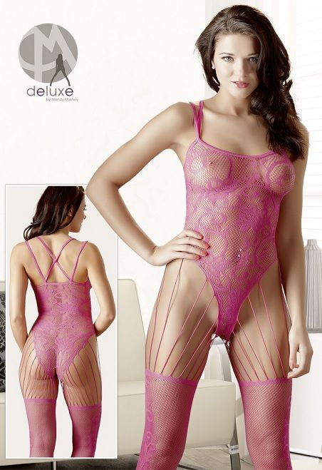 4e3b30926e0 Mandy Mystery Pink Pattern Catsuit - Size  One Size. £24.99  www.playtimeonline.co.uk