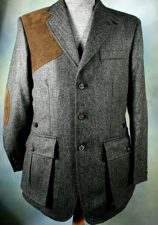 Mid Grey Herringbone Shooting Jacket - Bookster Tailoring Tweed Shooting  Jacket a7c226c0579
