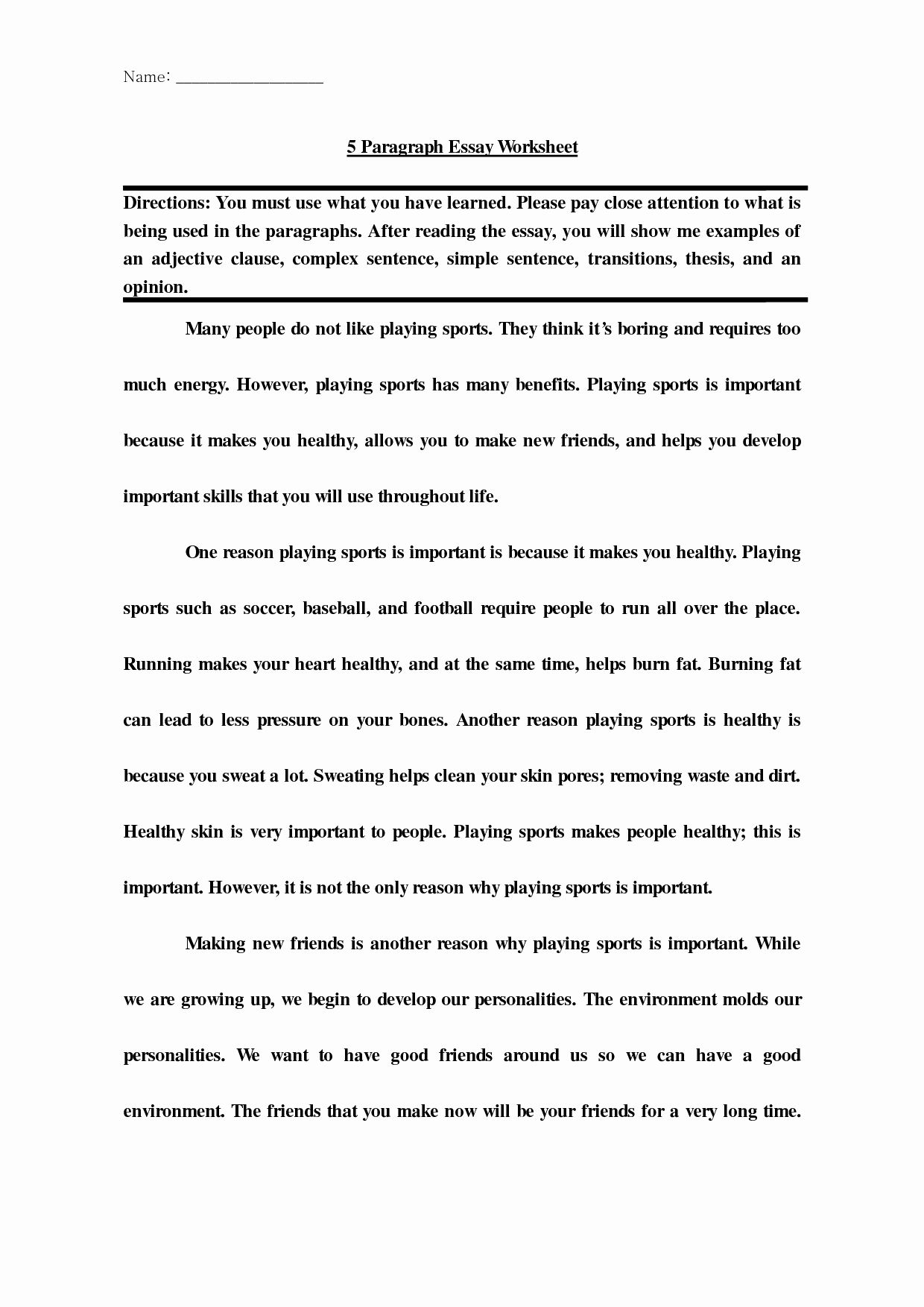 Example Of 5 Paragraph Essay Luxury Basic Five Paragraph Essay 6