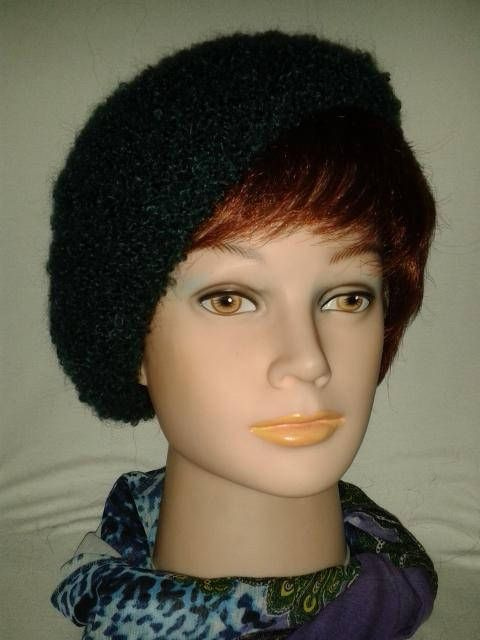 9c6215009baa8 Dark Jade British Mohair Beret Hand knit Loop Mohair Hat Elegant ...