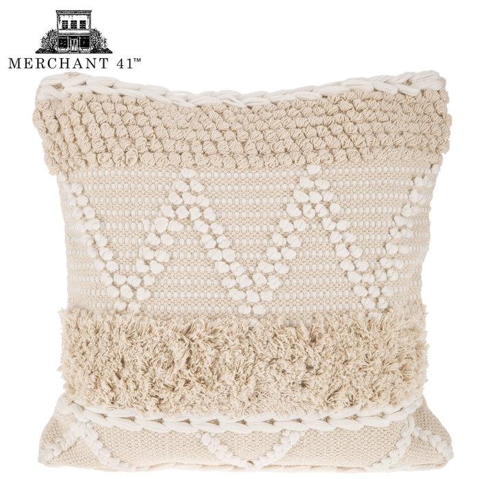 Natural & White Fringe Pillow Cover