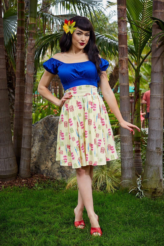 201144868ed Laura Byrnes California Little Jun Skirt Yellow and Blue Tiki Print