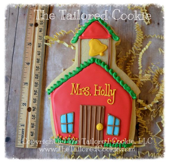 Back to School Teachers Gifts, School House, End of School Year Gifts, Decorated Cookie, Thank You Sugar Cookies, Cookie Favors
