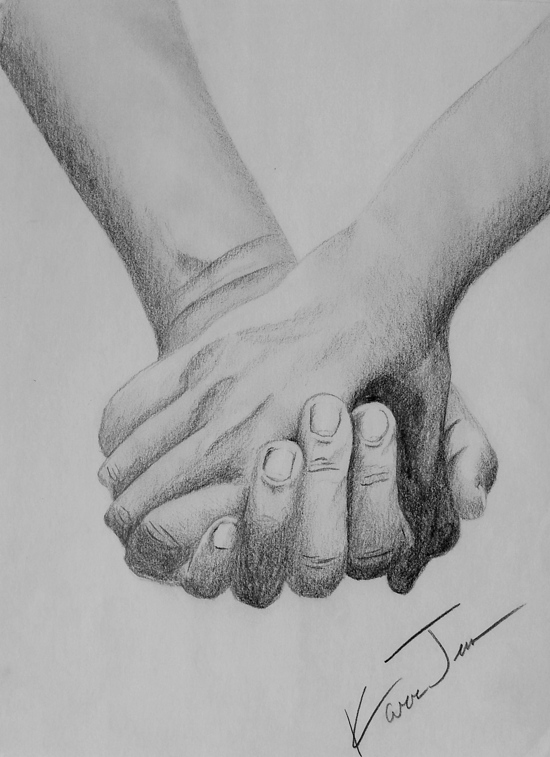 Holding hands pencil drawing artist kara jenne myself