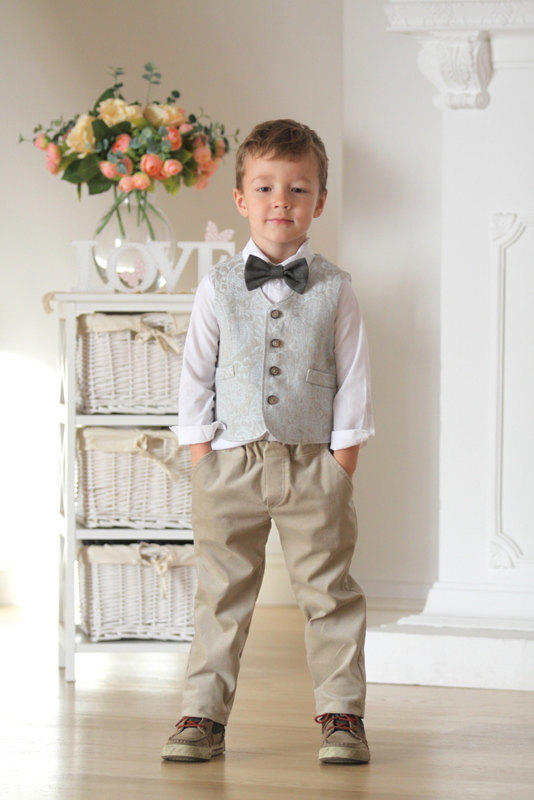 7579da7db Ring bearer vest and pants Boys outfit Autumn winter wedding outfit ...