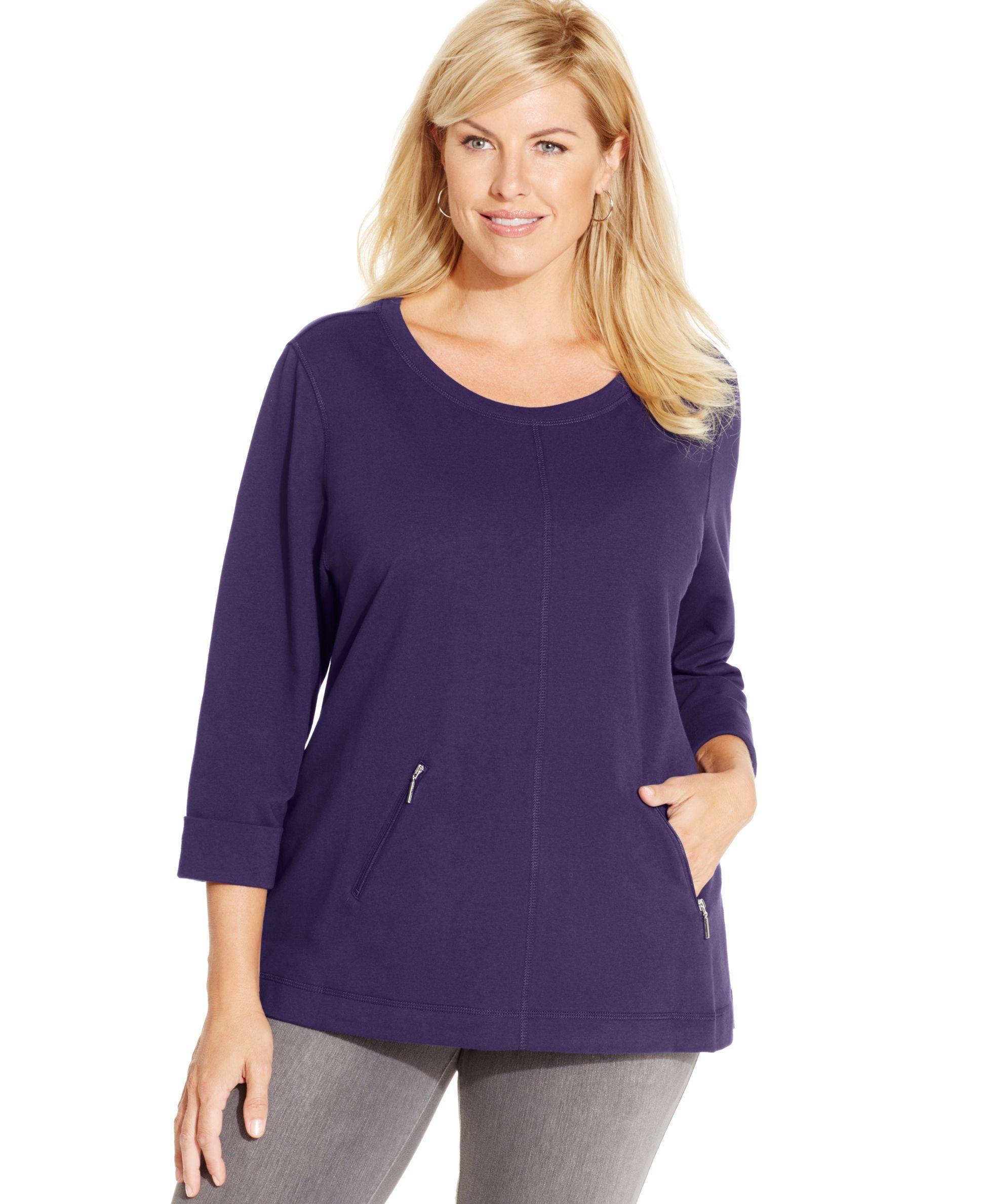 Karen Scott Plus Size Zipper-Pocket Sweatshirt