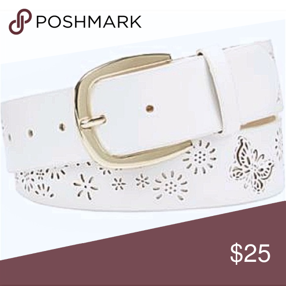 INC International Concepts Perforated Belt Flowers Butterfly White Gold S
