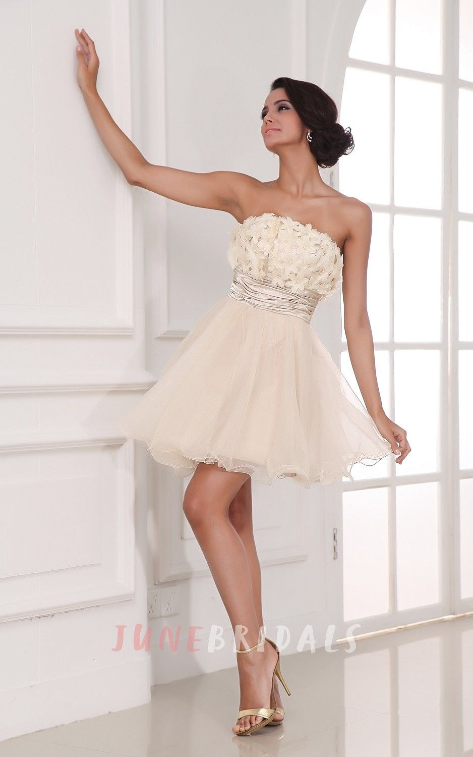 Chic champagne aline style dress with flowers unique wedding