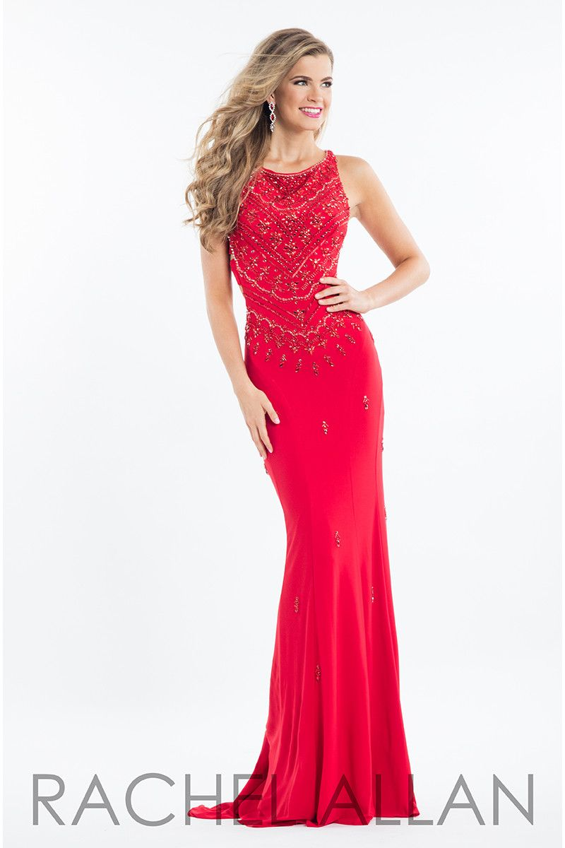Rachel allan red high neck beaded prom dress red prom dress