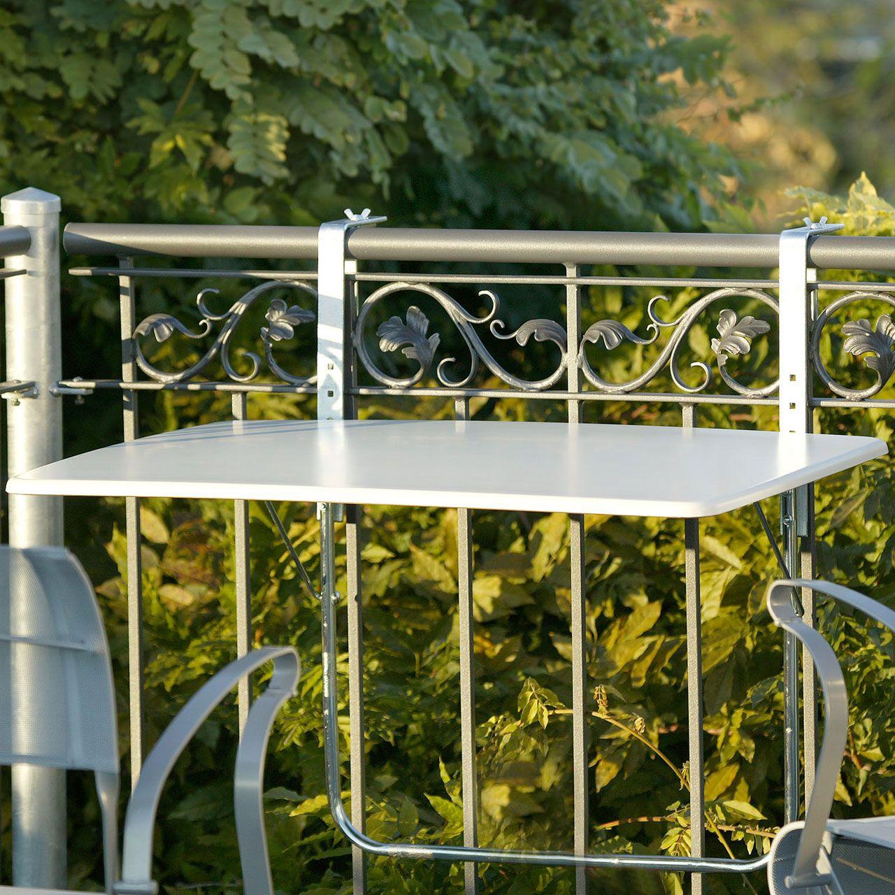 Balkonklapptisch Werzalitplatte Weiss 60 X 80cm Outdoor