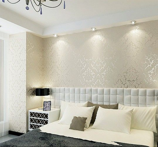 High end 10m luxury damask embossed textured wallpaper rolls gold silver white wall paper - Papel pintado dormitorio principal ...