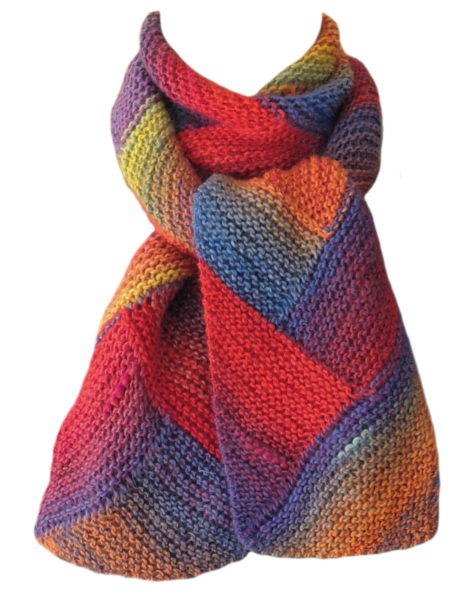Photo of Orange Yellow Blue Wayward Hand Knitted Wool Scarf