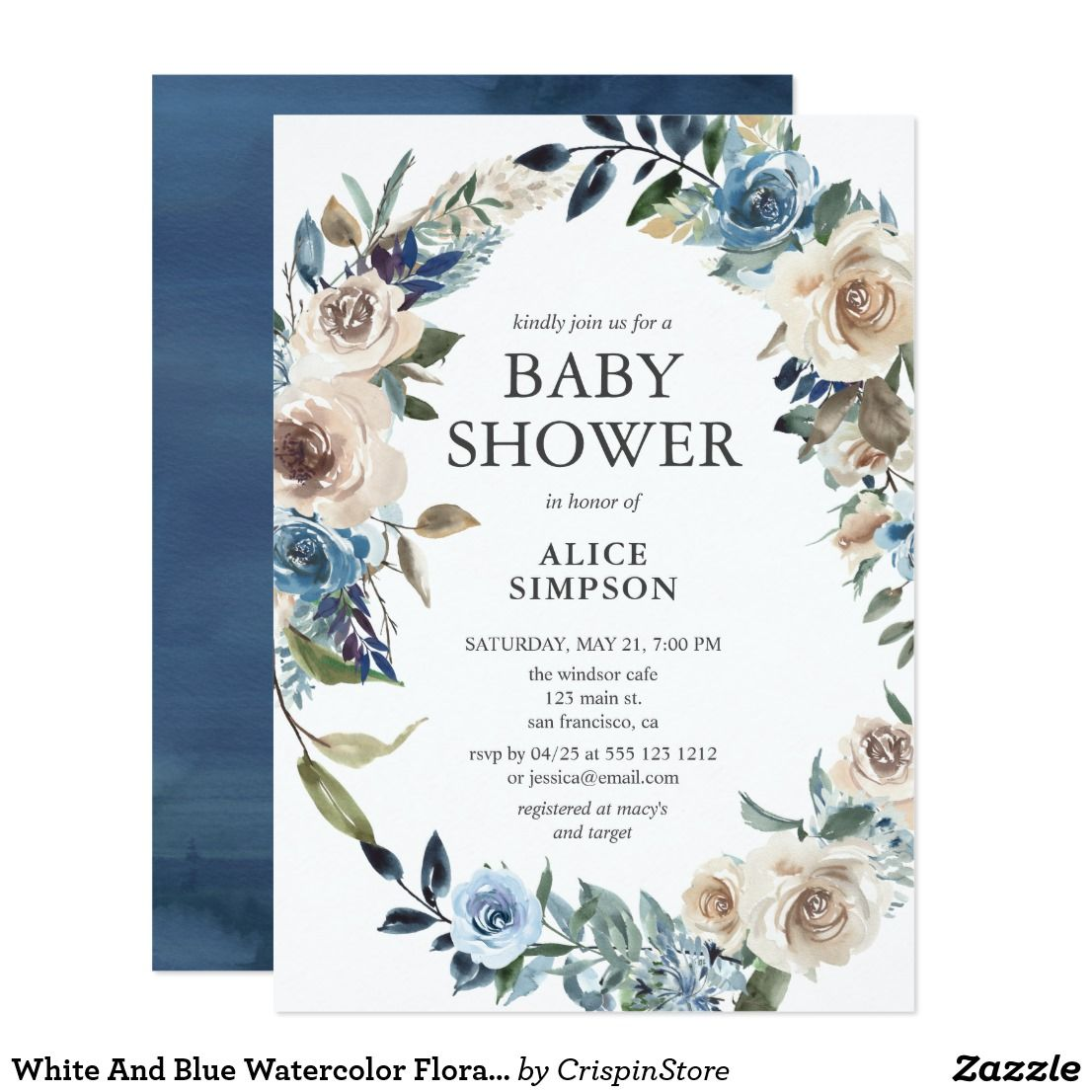 White And Blue Watercolor Floral Baby Shower Invitation. #Ad #babyshower |  Floral baby shower invitations, Floral baby shower, Baby shower invitations