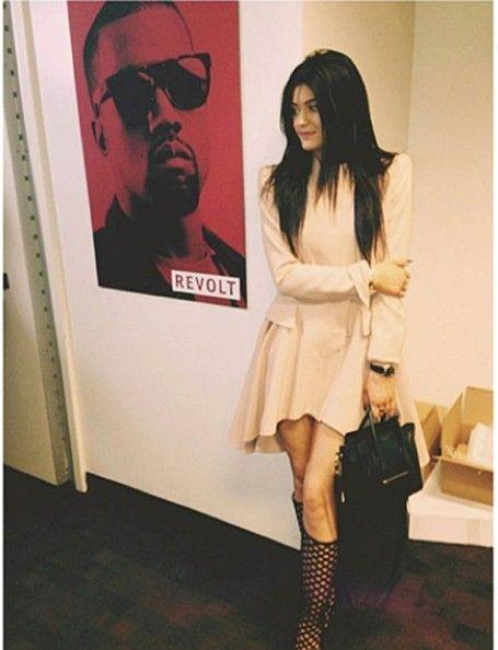 Kylie Jenner alongside Kanye West Poster - Celebrity Social Media Pics