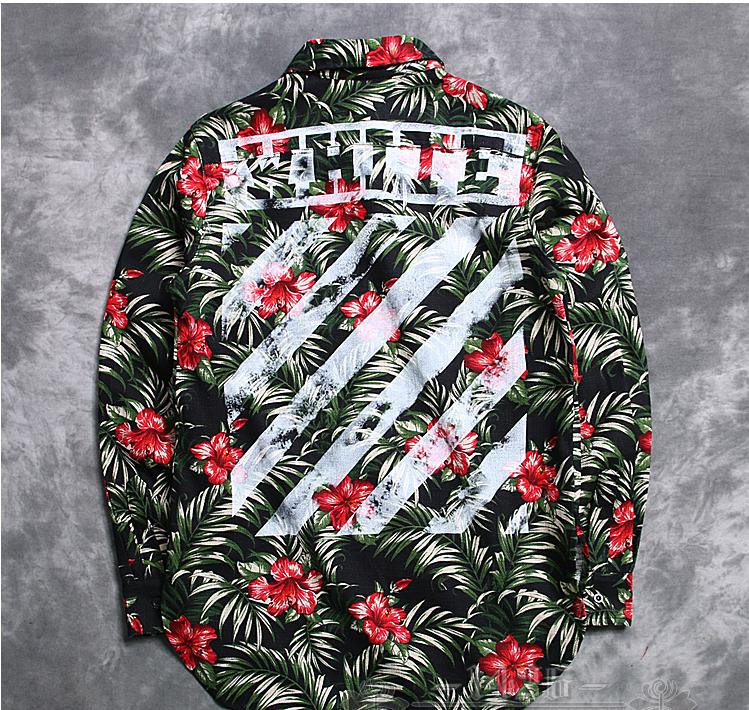 Off White Stripe Kanye West Virgil Flower Green Print Long Sleeved Shirt Kanyewestoutfits Urbanfashion Off White Clothing Off White Fashion Off White Hoodie