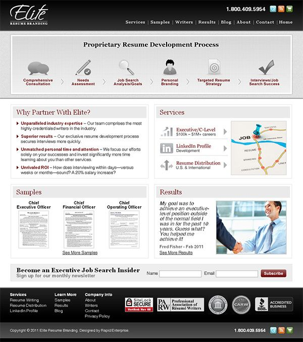 Elite Resume Branding - website design, xhtml\/css, ecommerce, blog - c level resume