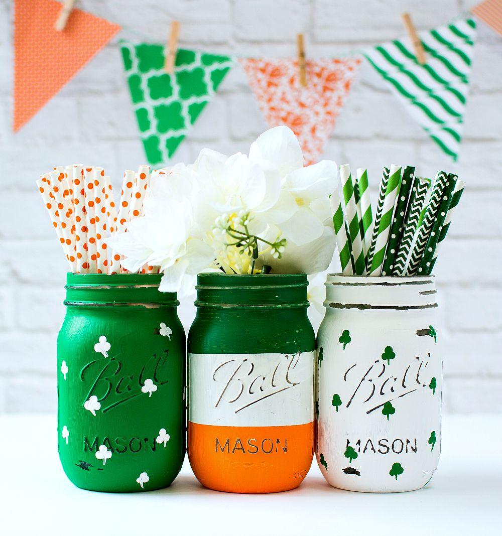 St Patrick S Day Mason Jar Set Mason Jar Crafts Love Mason Jar Decorations Mason Jar Crafts St Patrick S Day Decorations