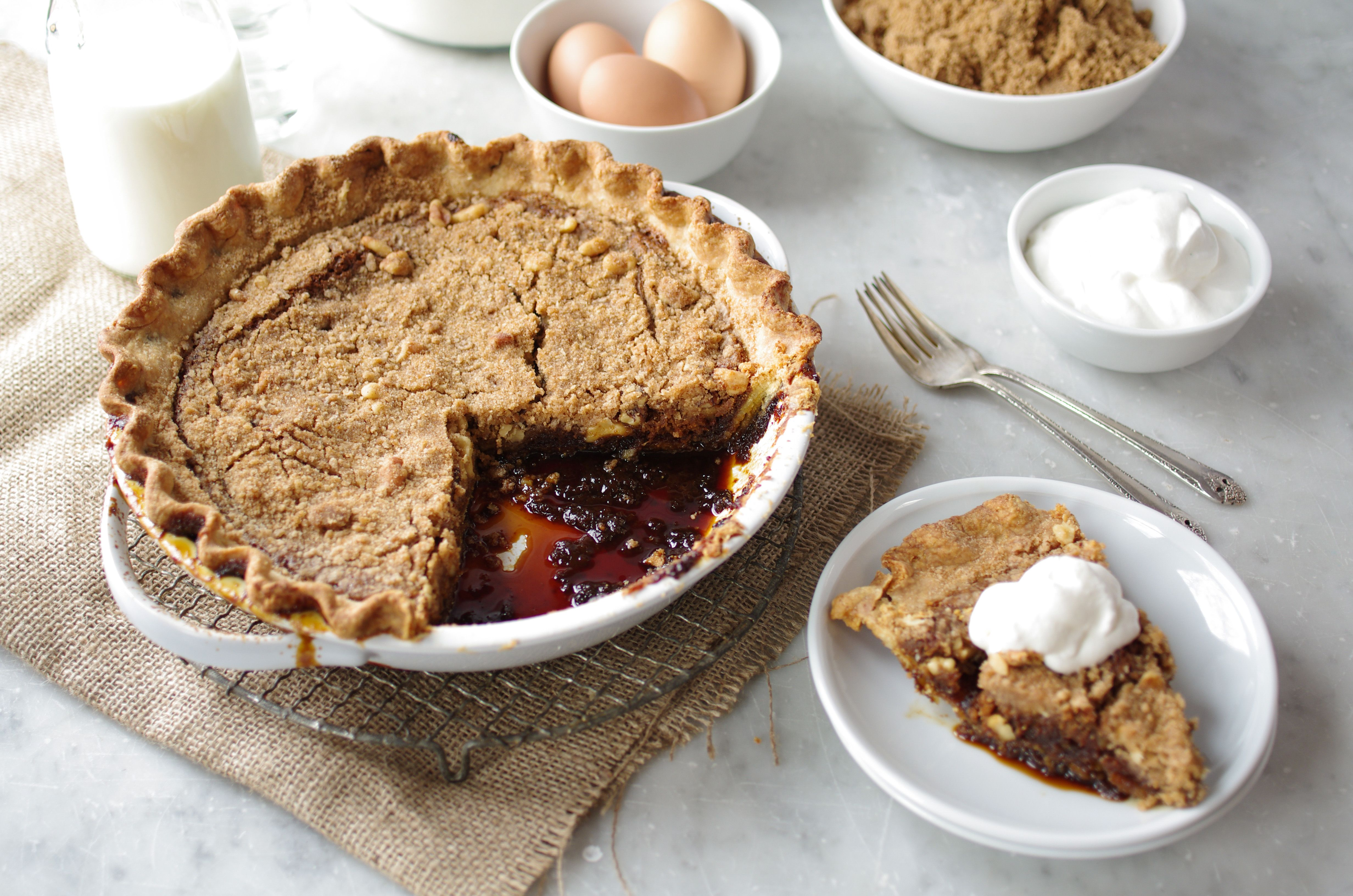 Shoofly pie with walnuts